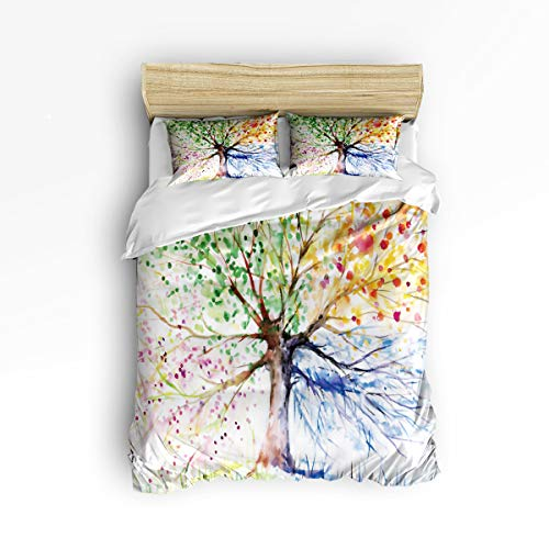3 Piece Polyester Fabric Bedding Set with Zipper Closure Queen Size, Freehand Colorful Life Tree Comforter Cover Set Duvet Cover with 2 Pillow Shams for Girls/Boys/Kids/Children/Teen/Adults