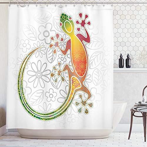 Tropical Gecko Lizard - Ambesonne Batik Decor Shower Curtain, Native Southeast Asian Common House Gecko Moon Lizard Tropical Monster Graphic Decor, Fabric Bathroom Decor Set with Hooks, 70 Inches, White Orange