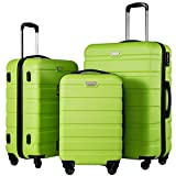 Coolife Lightweight Luggage Set Hard Shell Suitcase Set 3pc Green Deal (Small Image)