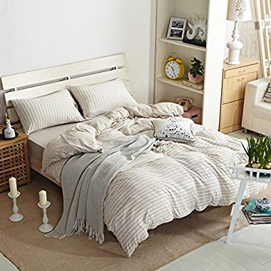TheFit Paisley Textile Bedding for Adult U636 Light Brown Long Striped Relax Duvet Cover Set 100% Knited Cotton, Twin Queen King Set, 3-4 Pieces (King)