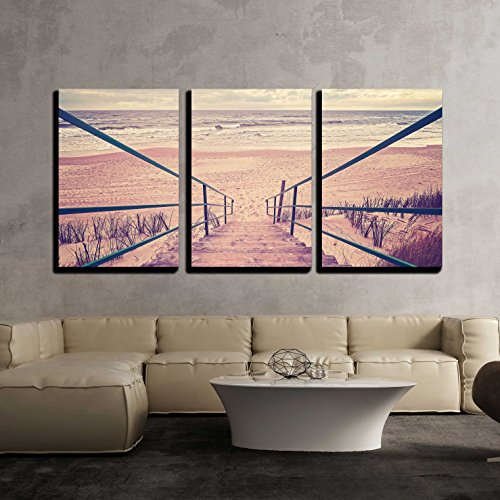 """Wall26 - 3 Piece Canvas Wall Art - Vintage Toned Wooden Stairs on a Beach. - Modern Home Decor Stretched and Framed Ready to Hang - 16""""x24""""x3 Panels"""