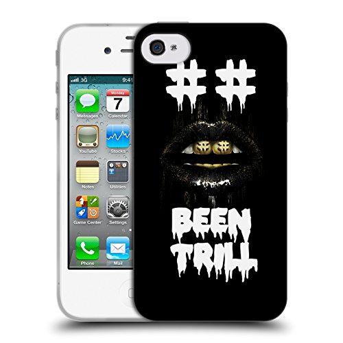 Official Been Trill Hashtag Mouth Grill Glitch Soft Gel Case for Apple iPhone 4 / 4S