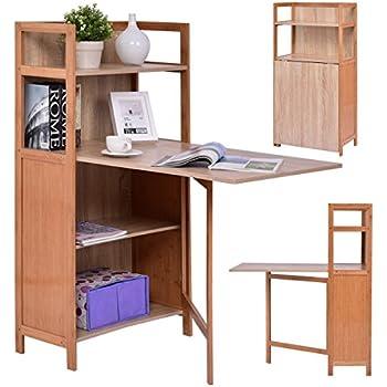 Amazon Com Tangkula Convertible Desk Wood Fold Out