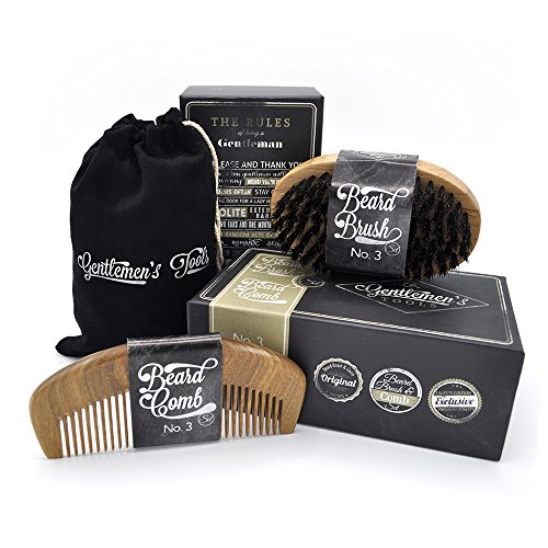 Beard Comb & Brush - SET - for Men, Sandal Wood COMB, 100% Natural Boar Bristle BRUSH, Best for Grooming Facial Hair and Mustache, use with Balm, Oil and Wax, Packaged in Premium Giftbox ()