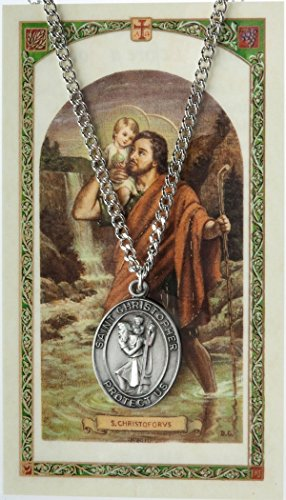 Pewter Saint St Christopher Medal with Laminated Holy Card, 1 1/16 (Pewter Patron Saint Medal)