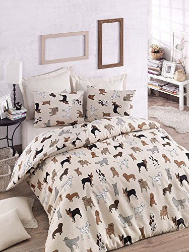 LaModaHome Puppy Duvet Cover Set, 65% Cotton 35% Polyester - Colorful Various Dog Races, Dalmatian, Bulldog, Cream - Set of 3 - Duvet Cover and Two Pillowcases for Full and Double Bed