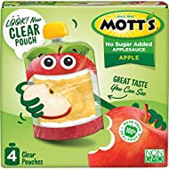 Mott's No Sugar Added Applesauce, 3.2 Ounce (Pack of 24) Clear Pouch, 4 Count, Perfect for on-the-go, No Added Sugars or Sweeteners, Gluten Free and Vegan