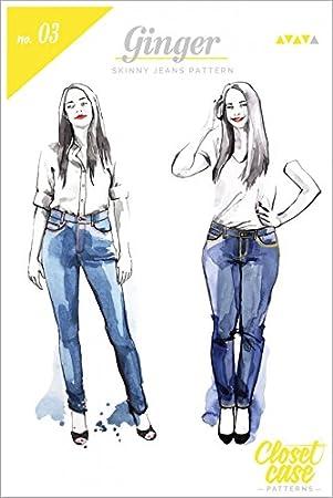 Closet Fall Dateien Damen Schnittmuster Ginger Skinny Jeans: Amazon ...