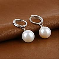ERAWAN Korean Silver Freshwater Pearl Dangle Hoop Earrings Womens Wedding Jewelry Gift EW sakcharn