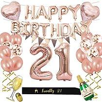 مجموعة ديكورات عيد الميلاد 21 لافتة بالونات عيد ميلاد سعيد ذهبي وردية مع بالون رقم 21 بالون وشاح أسود لأعياد الميلاد مستلزمات الحفلات التي عمرها 21 عام ا Amazon Ae