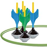 Black Series Glow-in-The-Dark Soft Tip Lawn Dart Game Set, Outdoor Backyard Toy for Night or Day, 4 Lawn Darts, 2 Target Rings, Storage Bag, Great for Camping, Summer, Beach, Safe for Children