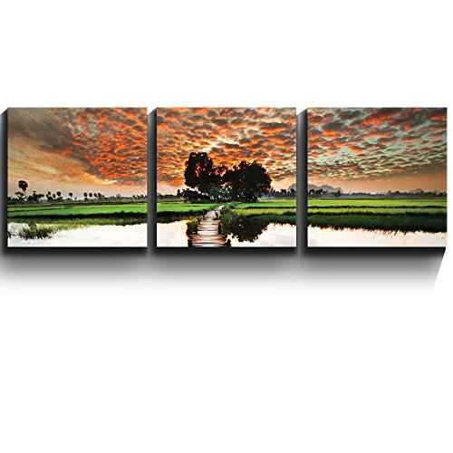 3 Square Panels Contemporary Art Old wooden bridge leads into beautiful sunset Three Gallery ped Printed Piece x 3 Panels
