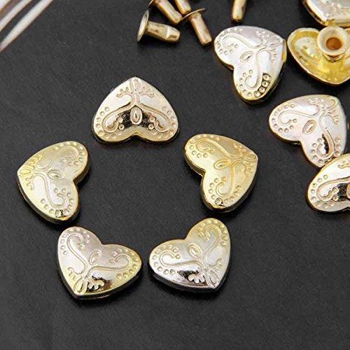 Ecloud Shop/® 10pcs Golden Heart Leather craft DIY Rivets Studs Spikes Punk for Belts 13x17mm