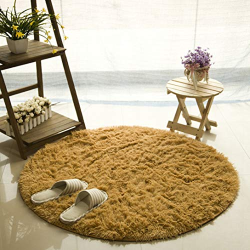 ASO-SLING Fluffy Solid Round Area Rug Carpets Living Room Faux Fur Carpet Kids Room Long Plush Rugs Bedroom Shaggy Rug