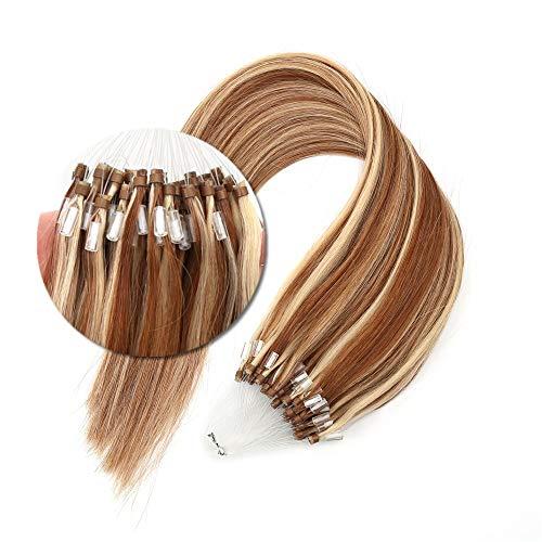 Micro Loop Hair Extensions 50s Brown Mix Blonde 6/613 Micro Rings Hair 1g/s 50g Per Pack Bead Extensions 18 Inches (1 Gram Loop Extensions)