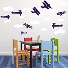 "BATTOO Planes and Clouds Set Vinyl Wall Sticker for Baby Nursery Kids Room Playroom Wall Decal Sticker(22""h x57.5""w,black+light yellow)"