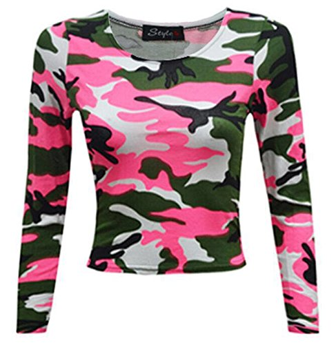 REAL LIFE FASHION LTD - Camiseta de manga larga - Top corto - para mujer Pink Camouflage