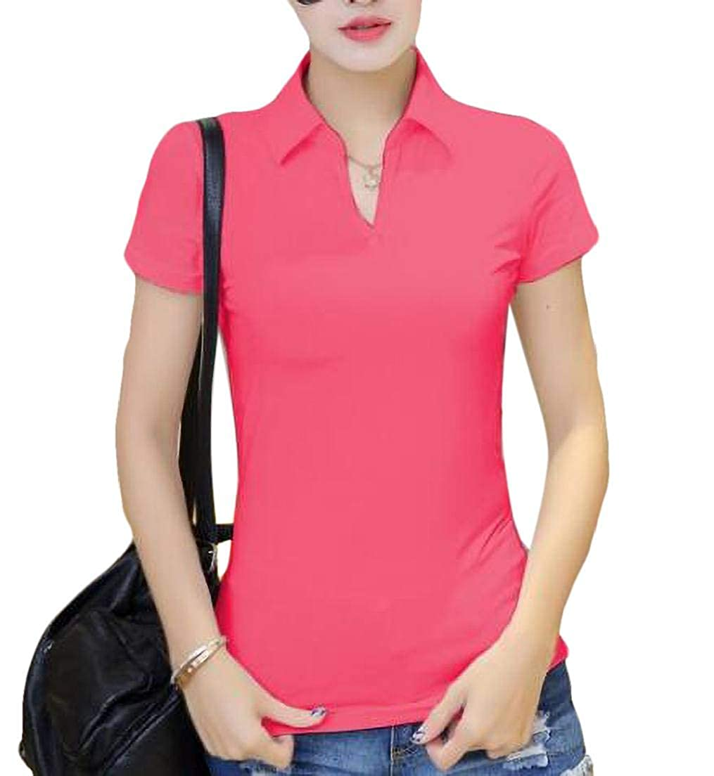 Domple Womens Slim Fit Short Sleeve Solid Color TeV Neck Polo Shirt Blouse
