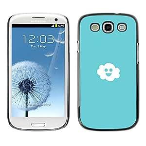 Qstar Arte & diseño plástico duro Fundas Cover Cubre Hard Case Cover para SAMSUNG Galaxy S3 III / i9300 / i747 ( Cloud Sky Blue Light White Happiness Smiley)