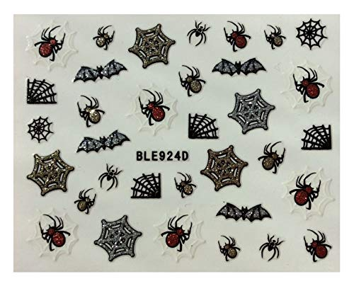 CLOSEOUT SPECIAL HALLOWEEN SPIDER WEB BAT NAIL ART 3D DECAL STICKERS - 2 PCS -