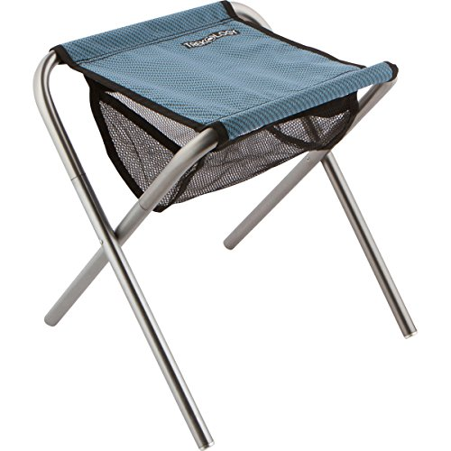 (Trekology Camping Stool, Portable Folding Camp Stools - Ultralight Compact Camp Footrest Stool, Mesh Bag for Storage, Great for a Quick Rest Outdoors and for Chores Close to The Ground (Blue, Large))