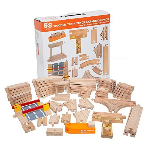 58 Piece Wooden Train Track Expansion Pack Featuring Container Ship, Ship Dock, Train Station, Rail Road Crossing Compatible with Thomas Wooden Railway Brio Chuggington Melissa & Doug Imaginarium Set -