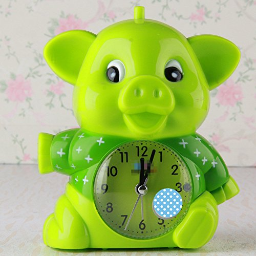 Gperw Belle sveglie Lovely Cartoon Animal Sveglia silenziosa con luce notturna per bambini Studenti bambini (verde)