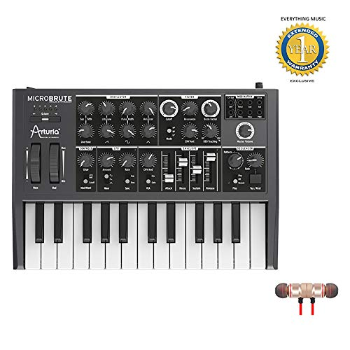Arturia MicroBrute Analog Synthesizer includes Free Wireless Earbuds – Stereo Bluetooth In-ear and 1 Year Everything Music Extended Warranty