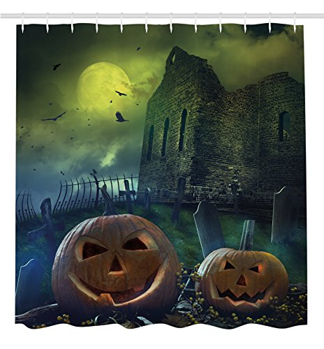 Halloween Decorations Shower Curtain by Ambesonne, Pumpkin in Spooky Graveyard in Old Stone Haunted House in Dark Night, Fabric Bathroom Decor Set with Hooks, 70 Inches, Grey Yellow