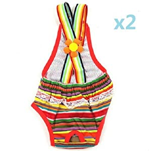 UDTEE 2PCS Colorful/Comfortable/Cosy Pet Dog Cotton Tighten Strap Sanitary Physiological Pants Pet Underwear Diapers,Random Color,Small Size