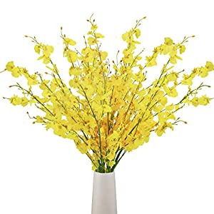 Bomarolan Artificial Orchid Silk Fake Flowers Faux Dancing Lady Orchids Stems Flower 10 Pcs Real Touch for Wedding Home Office Party Hotel Yard Decoration Restaurant Patio Festive Furnishing(Yellow) 10
