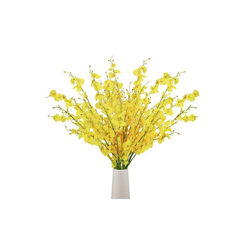 silk flower arrangements bomarolan artificial orchid silk fake flowers faux dancing lady orchids stems flower 10 pcs real touch for wedding home office party hotel yard decoration restaurant patio festive furnishing(yellow)