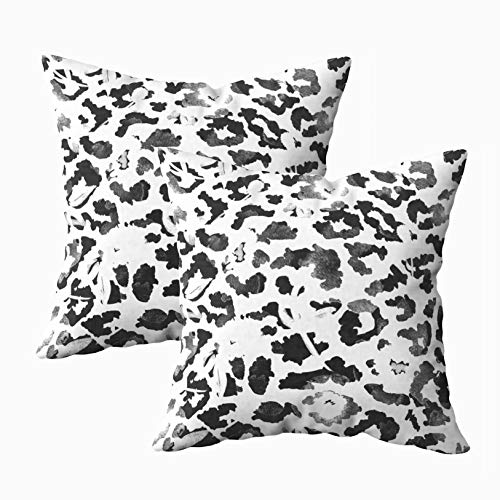 Musesh 18x18 Pillow Cases, Pack of 2 Drawn Watercolor Abstract Leopard Print and Flowers Pattern Isolated Background for Sofa Home Decorative Pillowcase Throw Pillow Covers