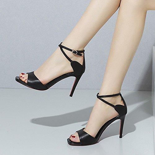 sottile e tacchi sandali alla bocca donne 'i in trentotto alti 37 moda estate pesce NHGY derma tacchi pAY0q