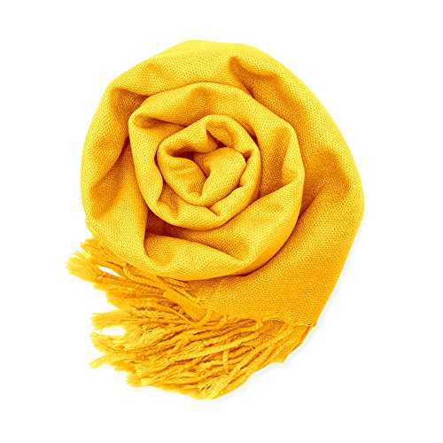 Soft Pashmina Scarf for Women Shawl Wrap Scarves Lady Women's Scarfs in Solid Colors - Yellow ()