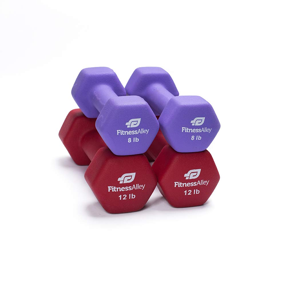 Fitness Alley Neoprene Dumbbells - Free Weights Hex Hand Weights - Dumbbell Pairs Combo Set (2 Dumbbell Set - (8lbs & 12lbs Pairs))