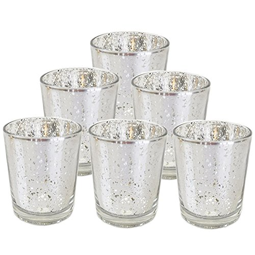 Ocamo Candle Holders Glass Crystal-Like Glass Candle Holder Romantic Candlestick Tealight Candle Cup Home Wedding Party Decoration Silver 6pcs -
