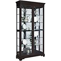 Pulaski P021579 Sable Collection Two Door Curio Display Cabinet, Five Shelves, 44' x 15' x 81.5', Poplar Brown