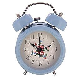 Konigswerk 3 Non-ticking Quartz Analog Twin Bell Alarm Clock With Nightlight (Blue) AC051G