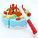 Rurah DIY Simulation Birthday Cake Toy Cake Slices Set Pretend Play Toy for Kids,blue,38PCS