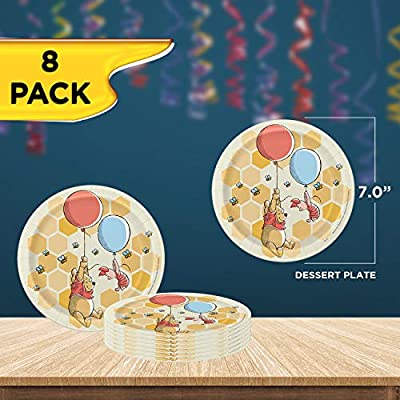 Unique Disney Winnie The Pooh Dinnerware Party Bundle | Luncheon Napkins, Dinner & Dessert Plates, Table Cover | Great for Themed Parties, Kid's Birthday, Halloween - Officially Licensed by Unique: Health & Personal Care