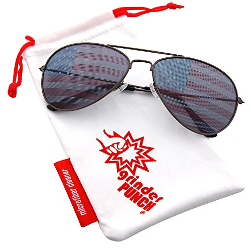 (grinderPUNCH American Flag Aviator Sunglasses Glasses Gunmetal)
