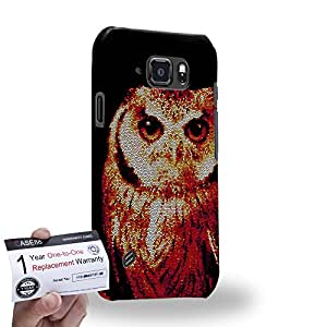 Case88 [Samsung Galaxy S6 Active] 3D impresa Carcasa/Funda dura para & Tarjeta de garantía - Art Aztec Design Red Owl Animal Faces