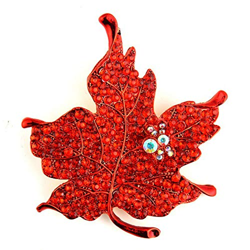 Fashion Crystal Maple Leaf Shape Women Brooch Pin Costume Decoration Jewelry (Color - -