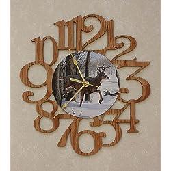 BUCK ~ DEER LARGE Decorative OAK PHOTO WALL CLOCK ~ Great Gift Idea for a DEER Hunter!