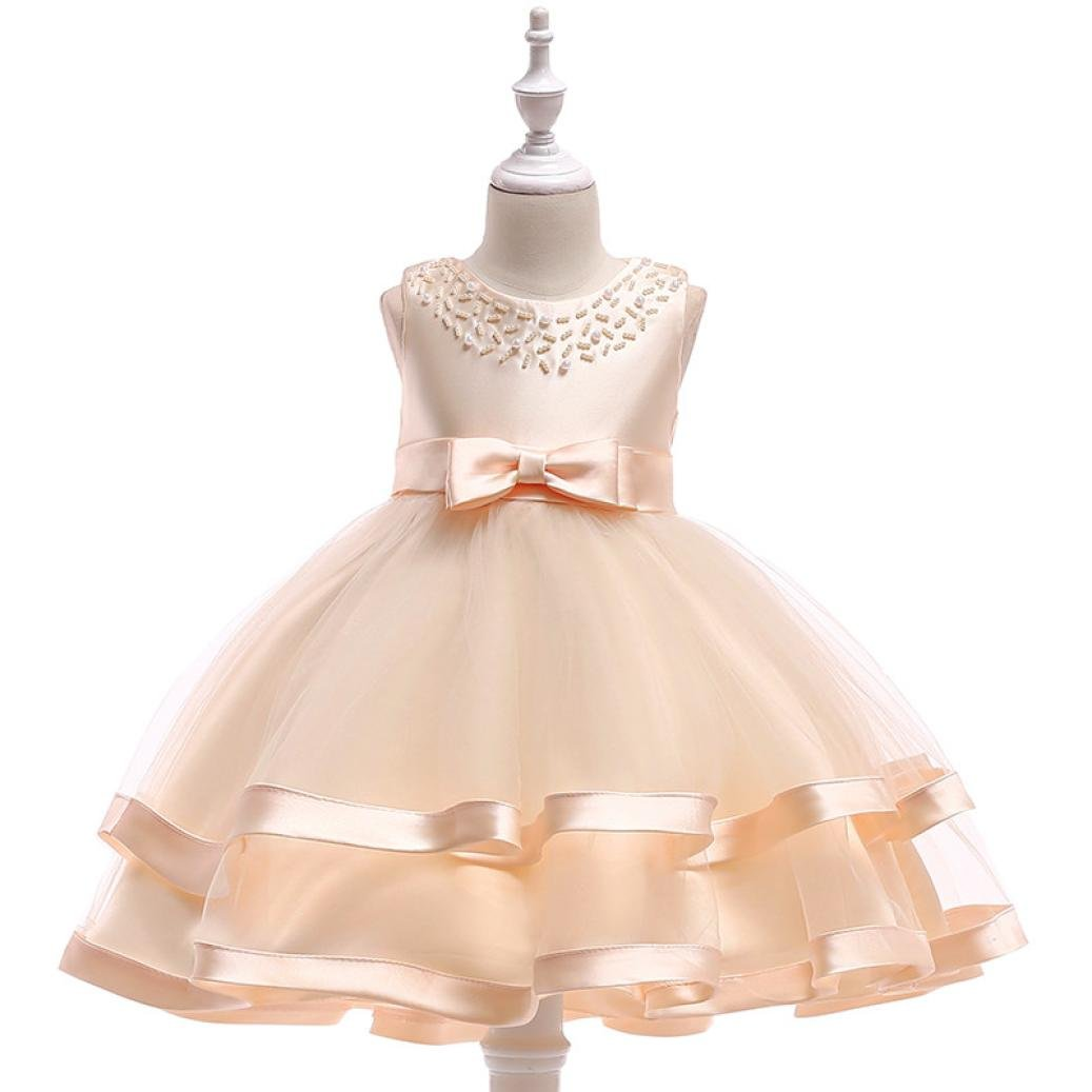 WARMSHOP Children Baby Girls Sleeveless Bowknot Pearl Solid Tulle Princess Pageant Party Evening Ball Gown Puffy Tulle Dress