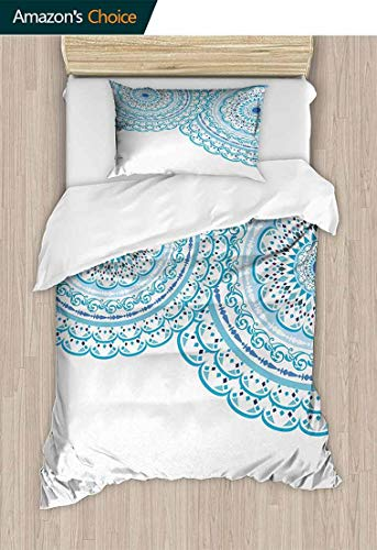 - CheeryHome Cotton Bedding Sets, Wedding Invitation Card Theme Lace and Place for Text Art Print, Bedding Set for Teen 2PCS,63 W x 82 L Inches, Sky Blue Light Blue
