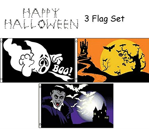 ALBATROS 3 ft x 5 ft Happy Halloween 3 Flag Set #4 House Banner Grommets for Home and Parades, Official Party, All Weather Indoors Outdoors -