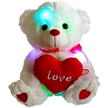 WEWILL LED Teddy Bear Stuffed Animals Glow Soft Plush Toys with a Heart  Saying Love c83d3bbd1d