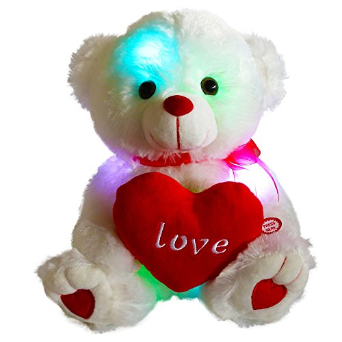 WEWILL LED Teddy Bear Stuffed Animals Glow Soft Plush Toys with a Heart Saying Love, Luminous Gifts for Valentine's Day Birthday Christmas, 10.5-inch, White